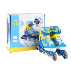儿童直排轮轮滑鞋FIT 3 Limited Edition - Blue/Yellow