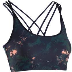 女式活力舞文胸 - 绿色珊瑚色