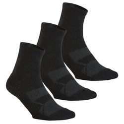 WS 100青少年中帮步行袜 - 黑色3双