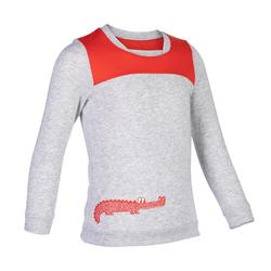 幼童体能长袖 T 恤500系列- 灰色/红色