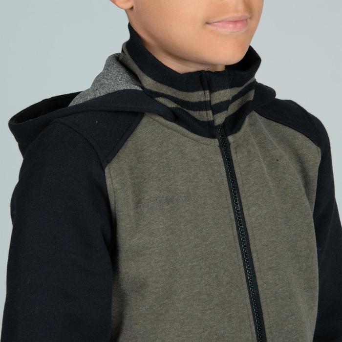 男孩/女孩足球夹克J100 适用于初学者- 黑色/绿色