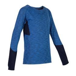 男童青少年体能长袖 T 恤 500 系列 - 蓝色