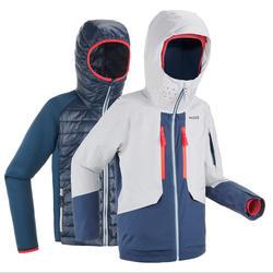 青少年3合1滑雪夹克Freeride 900 - Grey Blue