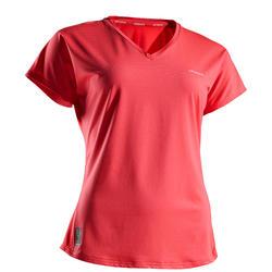 女士网球柔软T恤500-粉