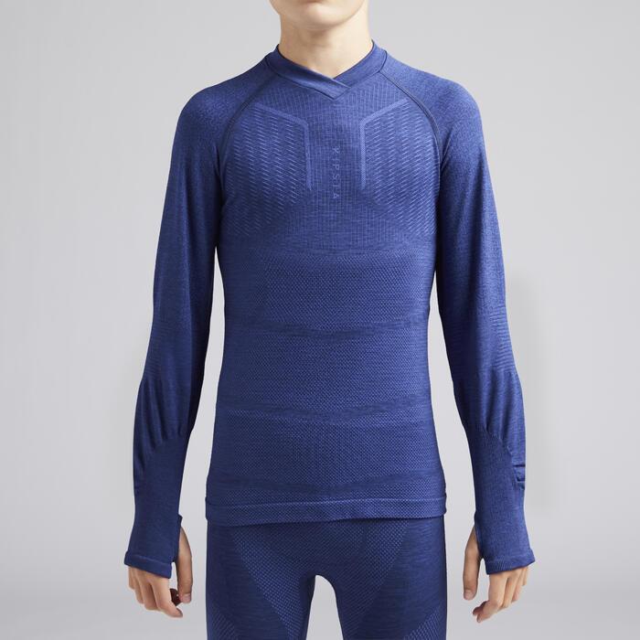 儿童长袖训练紧身衣 Keepdry 500- 蓝色