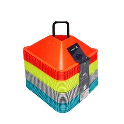 足球运动多色训练桩 40个装- 4 色(黄色, 橙色, 灰色, 蓝色)
