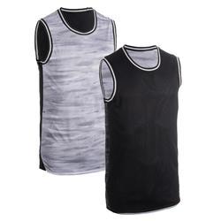 男式正反两穿篮球服/ 背心T500R - 蓝色/ 红色