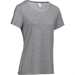 女式基础健身T恤 - 斑驳灰色