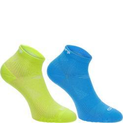 跑步运动舒适透气支撑中帮跑步袜 KALENJI ELIOFEEL MID 浅蓝色 35-38码
