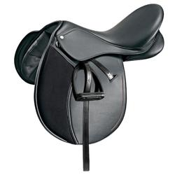 """Synthia Horse Riding Synthetic All-Purpose 16""""5 Saddle For Horse & Pony - Black"""