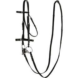马术维护方便使用便捷缰绳和水勒 FOUGANZA Schooling Horse Riding Bridle and Rein Set for Horse or Pony