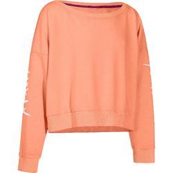 Girls' Loose Cut Long Sleeve Short Sweatshirt - Orange
