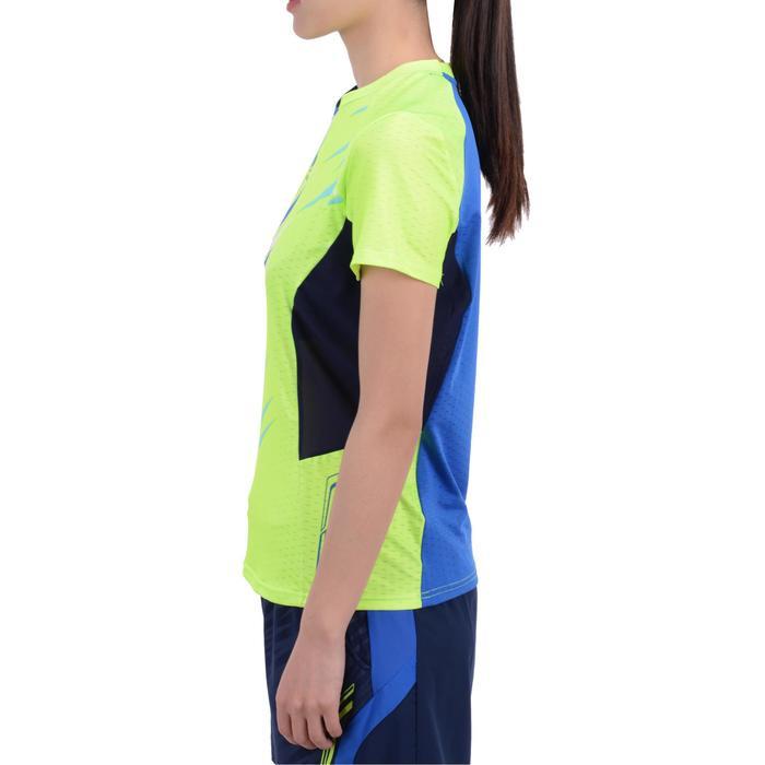 女士羽毛球运动T恤   黄色/蓝色