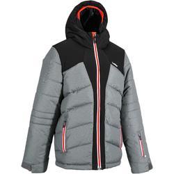 儿童滑雪夹克 WARM 500 - GREY AND BLACK